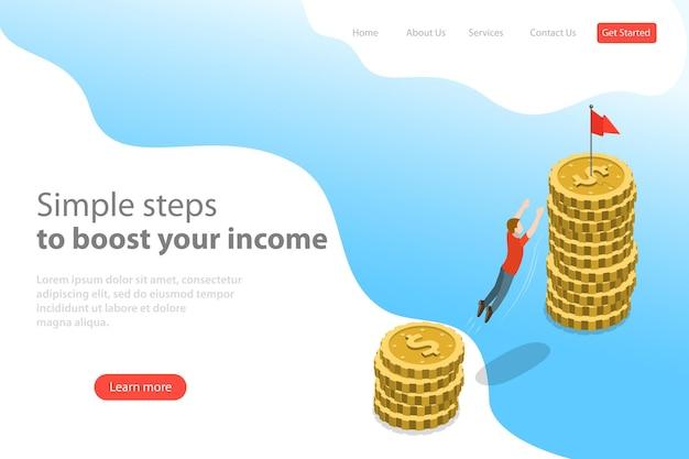 Modelo de página de destino de vetor plano isométrico de motivação de negócios