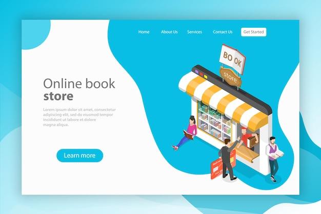Modelo de página de destino de vetor plano isométrico livraria online