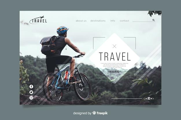 Modelo de página de destino de viagem com imagem