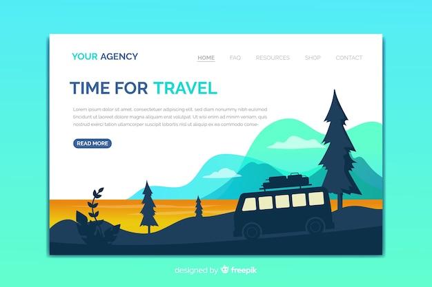 Modelo de página de destino de viagem com paisagem natural