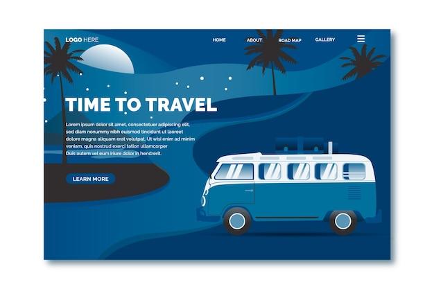 Modelo de página de destino de viagem de cor do ano 2020