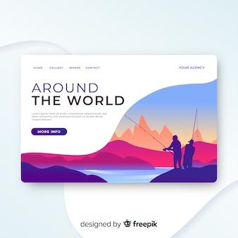 Modelo de página de destino de viagem, design bonito