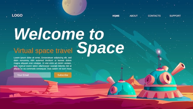 Modelo de página de destino de viagem espacial virtual