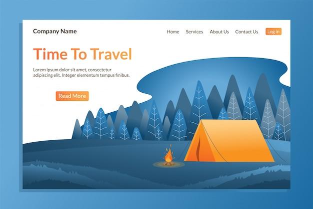 Modelo de página de destino de viagem para atividades ao ar livre.