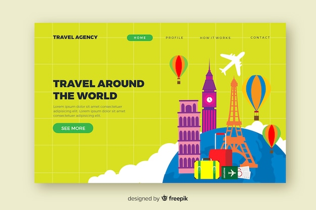 Modelo de página de destino de viagem plana