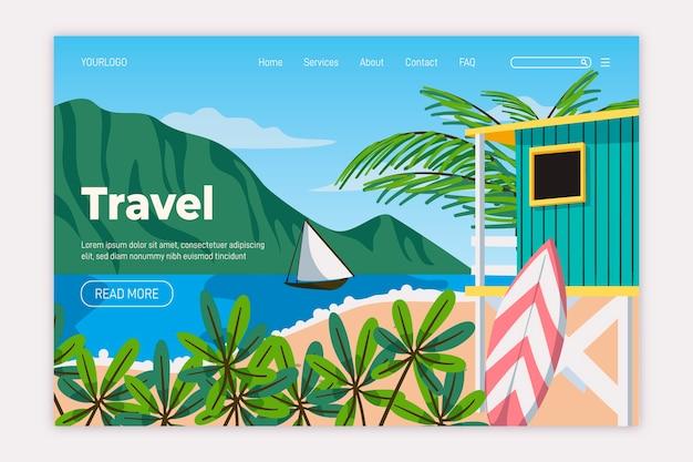 Modelo de página de destino de viagens de design plano