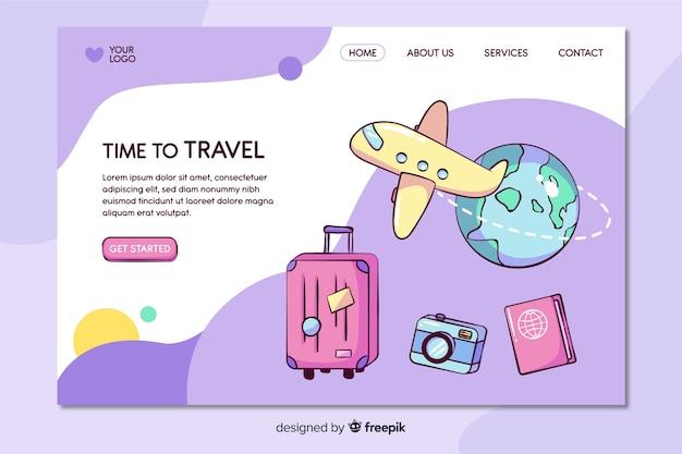 Modelo de página de destino de viagens desenhada mão