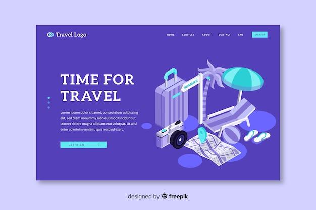 Modelo de página de destino de viagens isométrica