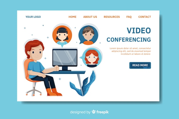 Modelo de página de destino de videoconferência