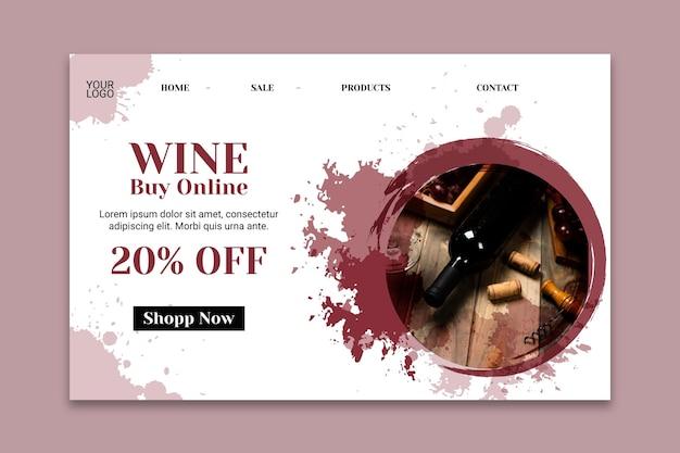 Modelo de página de destino de vinho