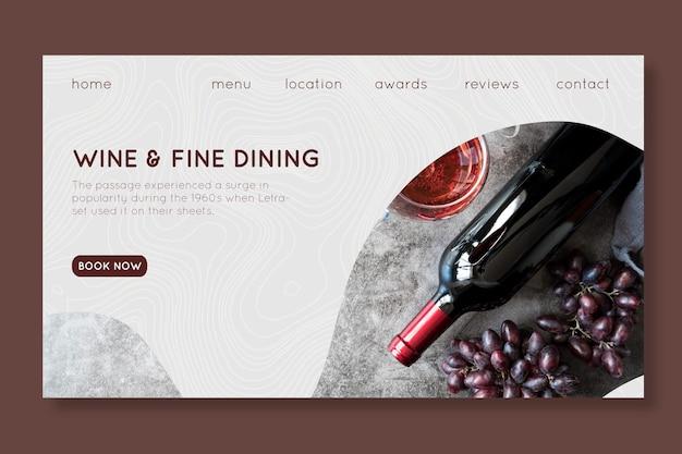 Modelo de página de destino de vinhos e restaurantes finos