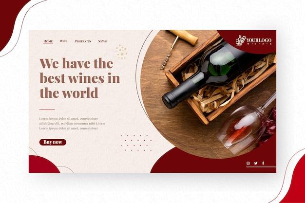 Modelo de página de destino de vinhos
