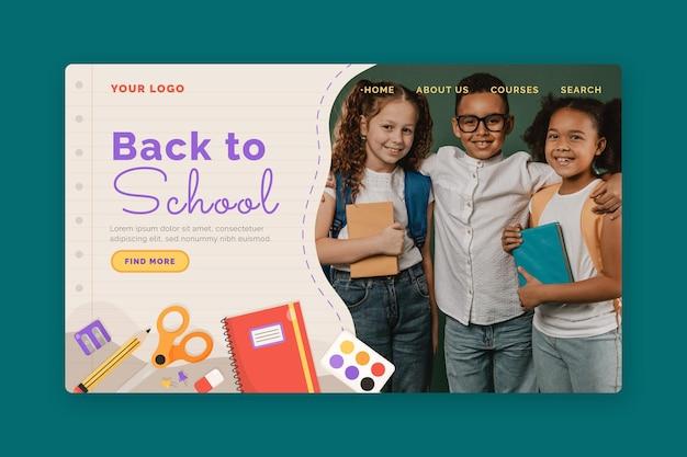 Modelo de página de destino de volta à escola com foto