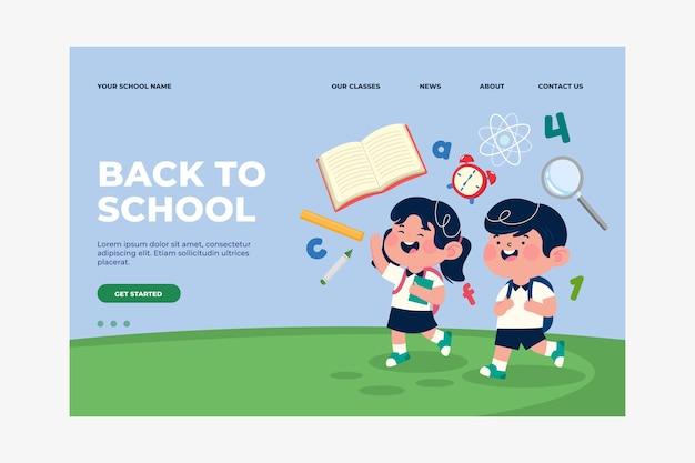 Modelo de página de destino de volta à escola plana