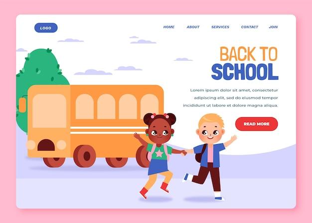 Modelo de página de destino de volta às aulas em desenho animado
