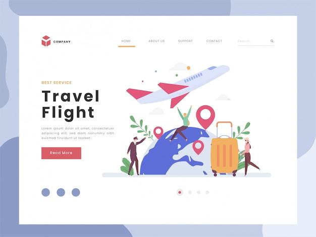 Modelo de página de destino de voo de viagem