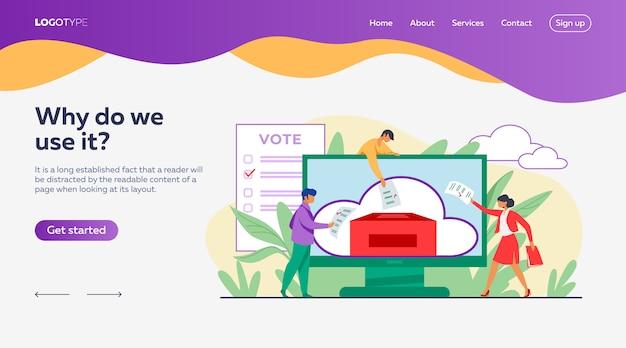 Modelo de página de destino de votação online ou eletrônica
