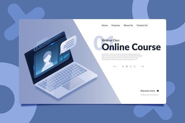 Modelo de página de destino de webinar em estilo isométrico