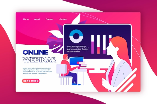 Modelo de página de destino de webinar