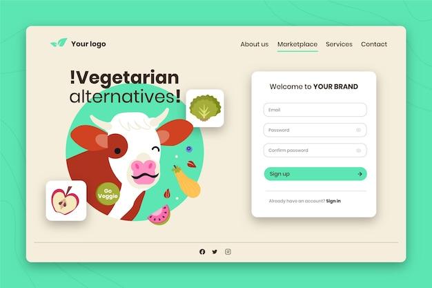 Modelo de página de destino desenhada à mão para vegetarianismo com vaca piscando