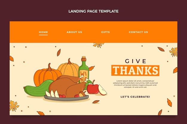Modelo de página de destino desenhado à mão para o dia de ação de graças