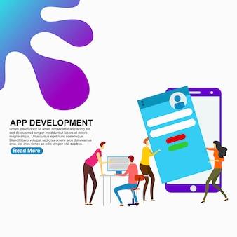 Modelo de página de destino desenvolvimento de aplicativos