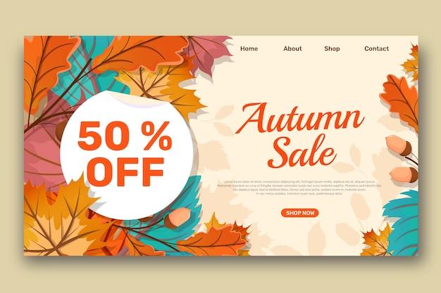 Modelo de página de destino detalhada de venda de outono com foto