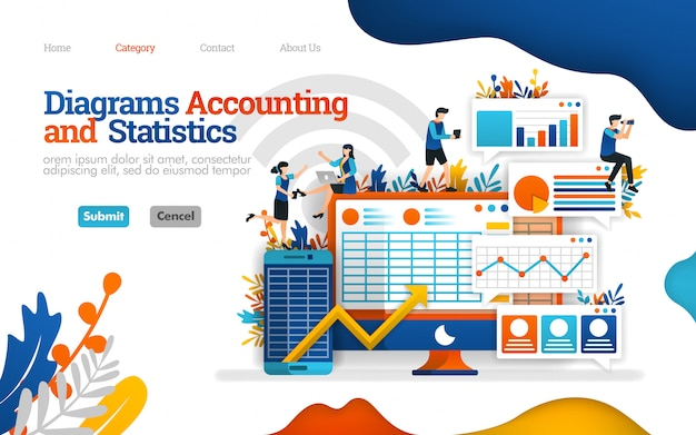 Modelo de página de destino. diagrama de contabilidade e estatísticas ajudam a aumentar o desempenho dos negócios, ilustração vetorial