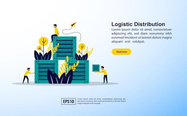 Modelo de página de destino. distribuição logística