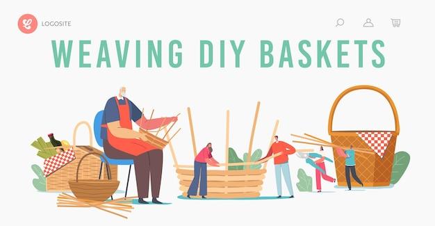 Modelo de página de destino diy de tecelagem de cesta. personagem masculina sênior fazer canteiro de vime de materiais naturais salgueiro, bambu, grama seca, galhos de árvores. hobby feito à mão. ilustração em vetor desenho animado