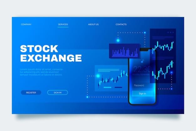 Modelo de página de destino do aplicativo da bolsa de valores