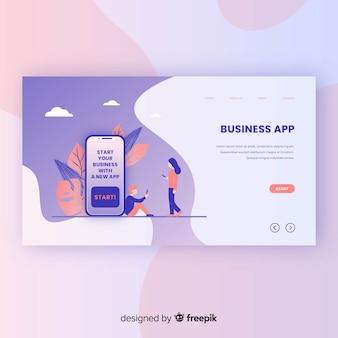 Modelo de página de destino do aplicativo de negócios