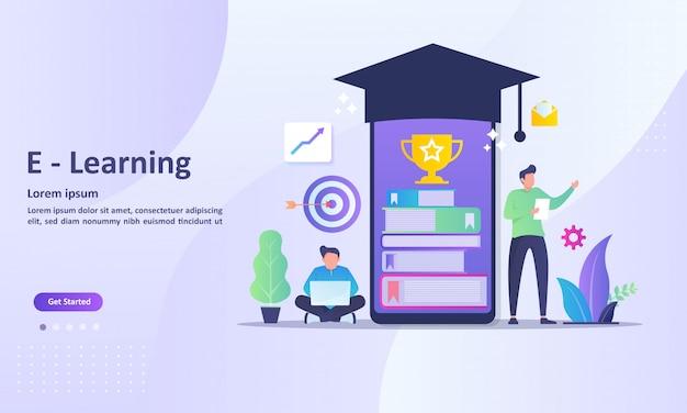 Modelo de página de destino do aprendizado on-line