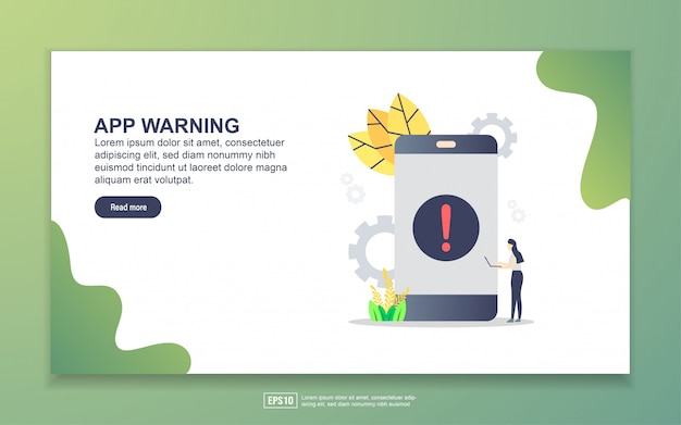 Modelo de página de destino do aviso de aplicativo. conceito moderno design plano de design de página da web para o site e site móvel.