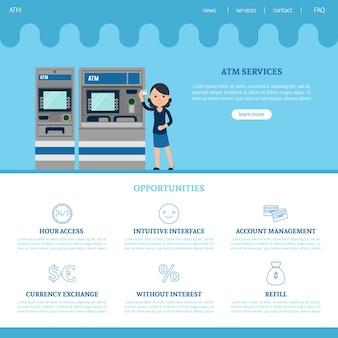 Modelo de página de destino do banco