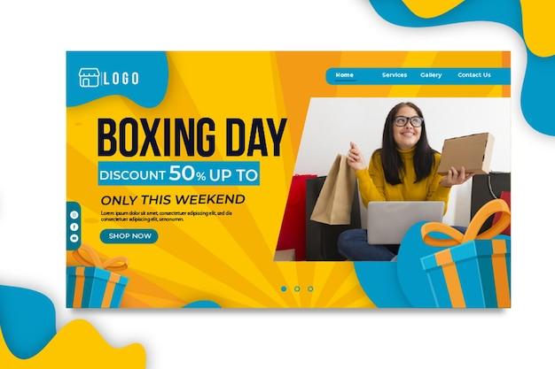 Modelo de página de destino do boxing day