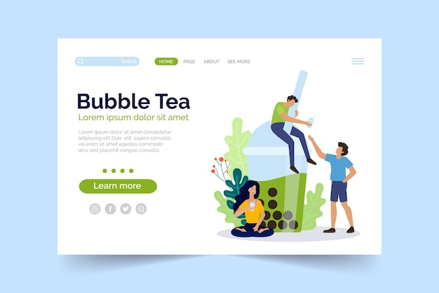 Modelo de página de destino do bubble tea