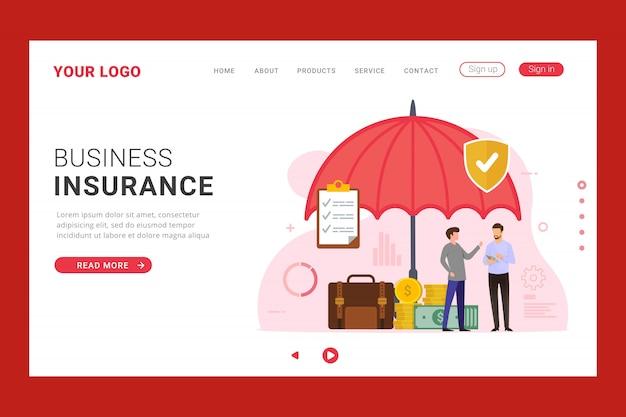 Modelo de página de destino do busines insurance