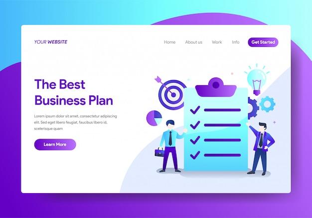 Modelo de página de destino do business plan design