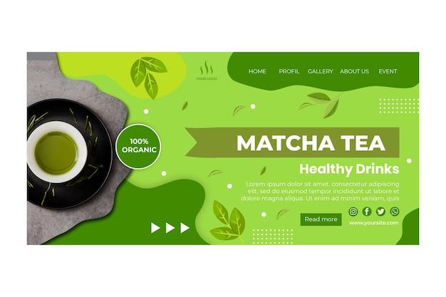 Modelo de página de destino do chá matcha