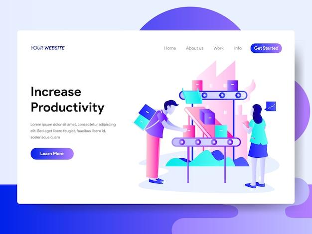 Modelo de página de destino do conceito de aumento de produtividade