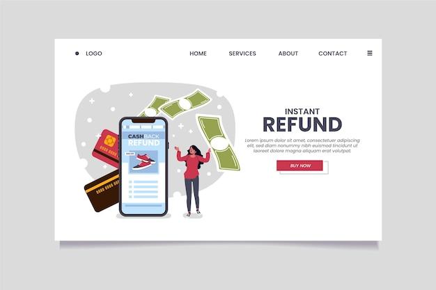 Modelo de página de destino do conceito de cashback