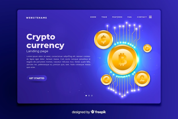 Modelo de página de destino do conceito de criptomoeda