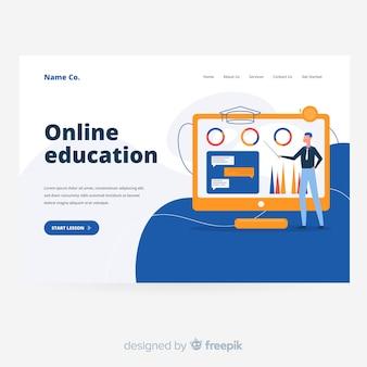 Modelo de página de destino do conceito de educação on-line