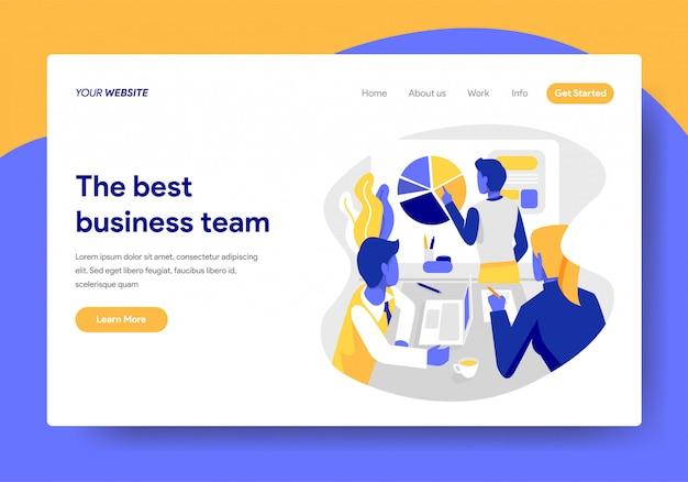 Modelo de página de destino do conceito de equipe de negócios