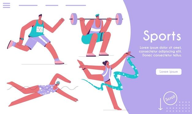Modelo de página de destino do conceito de esportes