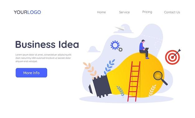 Modelo de página de destino do conceito de ilustração de ideia de negócio.