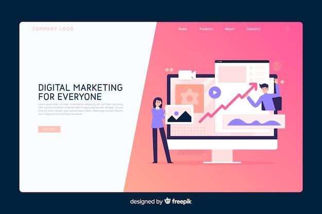 Modelo de página de destino do conceito de marketing