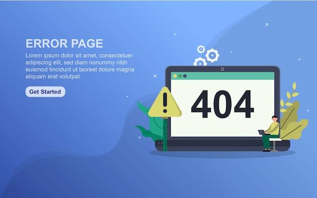 Modelo de página de destino do conceito de página de erro.