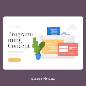 Modelo de página de destino do conceito de programação